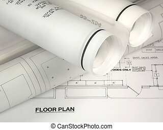Rolled Plans - rolled up plans on a floor plan