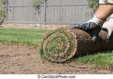 rolled sod - installing new sod