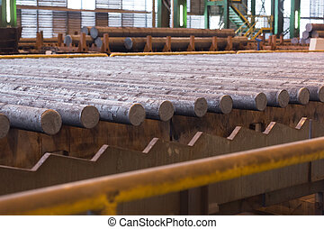 Rolled steel on the production line. Heavy metallurgical industry concept