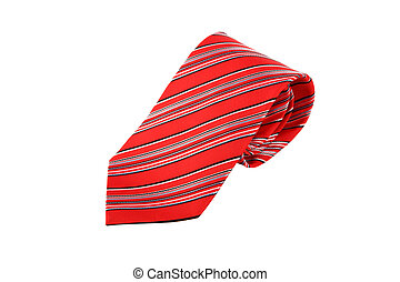 Rolled Tie - Close up side view of red striped rolled...