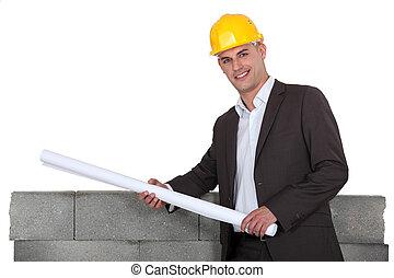 rolled-up, arquiteta, planos, segurando