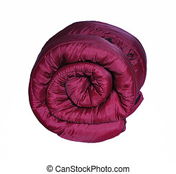 Maroon Sleeping Bag - Rolled Up Maroon Sleeping Bag isolated...
