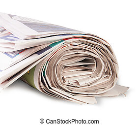 Rolled Up Newspaper Isolated On White Background