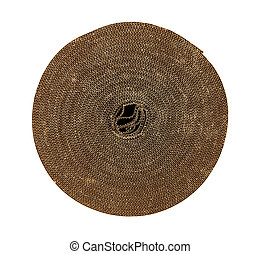 Roll of corrugated packing material rolled up in a circle and shot from above on white background