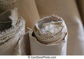 Rolled up Sheets of Canvas - Several rolled up sheets of ...