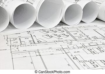 rollen, architektonische zeichnungen