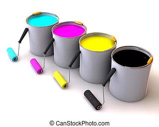 rollen, eimer, paint., bürste, 3d
