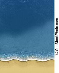 rollen, sandstrand, aus, birds-view, wellen