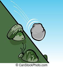 rollen, stein