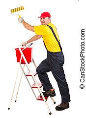 roller., échelle, ouvrier