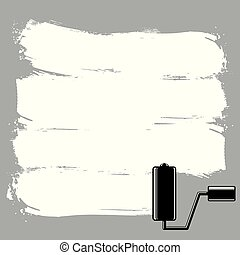 roller., グランジ, illustration., 作成される, 壁, ブラシストローク, ペンキ, ベクトル, サンプル, 概念, モノクローム, アクリルの絵
