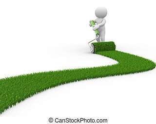 3d people- human character painting with grass. This is 3d render illustration