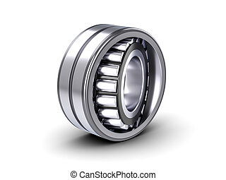 Roller bearing on a white background. 3D illustration.
