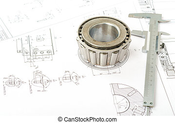 Roller bearing on blueprints