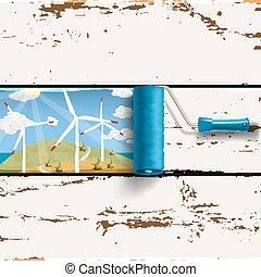 roller brush and wind turbines landscape - Alternative...