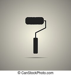 roller brush icon in flat black and white style