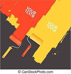 Roller Brush Painting Banner. Vector
