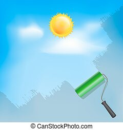 Roller brush painting blue sky with sun and clouds. Vector