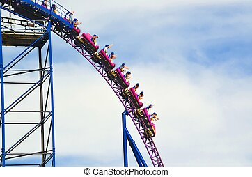 Roller coaster - A roller coaster high in the sky