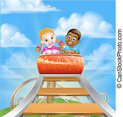 Roller Coaster Amusement Park - Cartoon boy and girl kids...