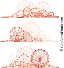 Roller-coaster and Ferris Wheel. - Set vector horizontal...