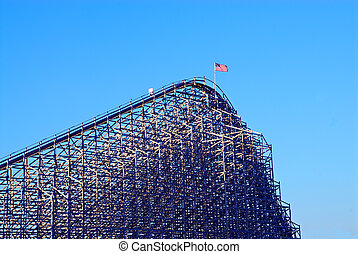 Roller Coaster at an American Amusement Park in Summer