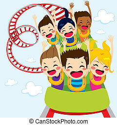 Roller Coaster Children - Happy children enjoy roller...
