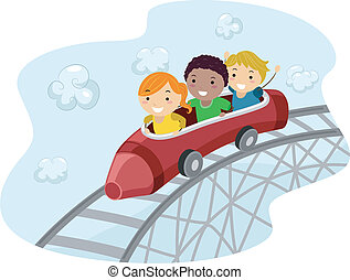 Roller Coaster Crayon - Illustration of Kids Riding a Crayon...