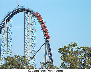 Roller Coaster Drop - A roller coaster making the big first ...
