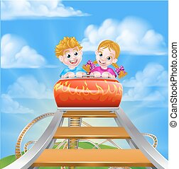 Roller Coaster Fair Theme Park - Children riding on a roller...