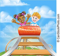 Roller Coaster Fair Theme Park - Cartoon boy and girl kids...