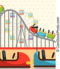 roller coaster ferris wheel and bumper cars carnival fun fair festival