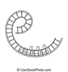 Roller coaster for children and adults. Dead loops, dangerous turns, terrible rides.Amusement park single icon in outline style vector symbol stock illustration.