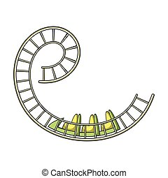 Roller coaster for children and adults. Dead loops, dangerous turns, terrible rides.Amusement park single icon in cartoon style vector symbol stock illustration.