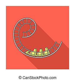 Roller coaster for children and adults. Dead loops, dangerous turns, terrible rides.Amusement park single icon in flat style vector symbol stock illustration.