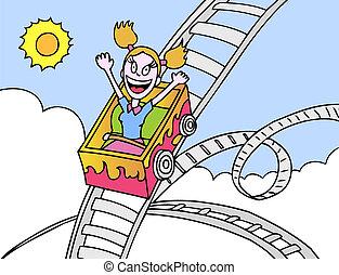 roller coaster girl hand drawn cartoon image style.