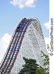 Roller Coaster - Huge roller coaster under blue sky