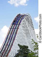 Huge roller coaster under blue sky