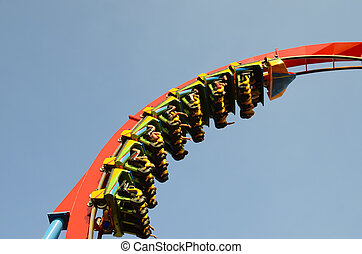roller coaster in action