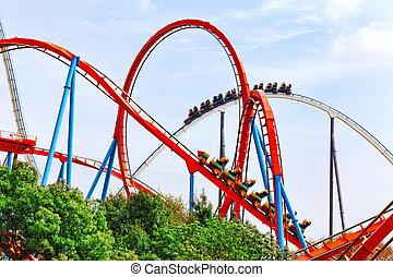 Roller Coaster in amusement park. - Roller Coaster in funny ...