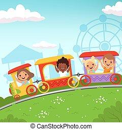 Roller coaster kids. Attraction children riding in amusement park vector cartoon action background