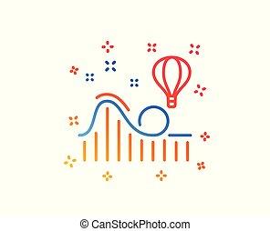 Roller coaster line icon. Amusement park sign. Vector
