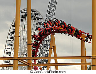 roller coaster - roller coster closeup in an amusement park