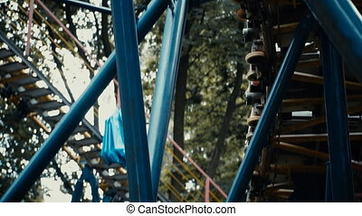 Roller coaster ride - A roller coaster attraction in a...