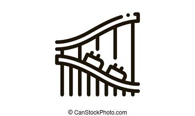 roller coaster ride Icon Animation. black roller coaster ride animated icon on white background