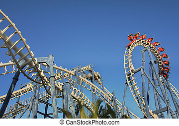 Roller coaster ride. - Roller coaster loop in Luna Park, Tel...