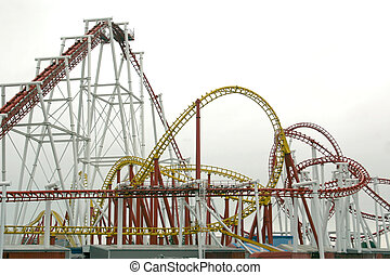 roller coaster ride taken on a misty day