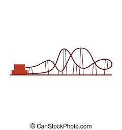 Roller coaster, rollercoaster ride in amusement park