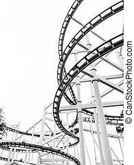 Roller coaster monochrome black and white color