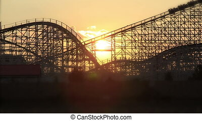 Roller coaster sunset time lapse